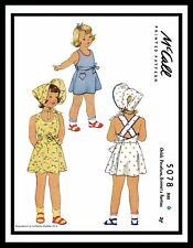 McCall 5078 Pattern Summer SunSuit PlaySuit BONNET Dress Frock GIRL Child Hat ~6