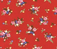 """32"""" Remnant LakeHouse Pam Kitty Bouquet Floral Fabric LH12061 Cherry Red"""
