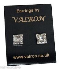 Square Diamante Stud Earring with square centre stone (pm)