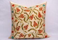 Tulips pillow Silk handmade Embroidery Suzani pillow cover Uzbek silk Suzani