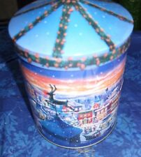 WIND UP CHRISTMAS MUSICAL BLUE TIN UPBEAT CAROL TUNE