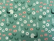 Green FQ Fat Quarter Fabric ORGANIC Snails Flowers 100% Cotton RARE