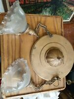 Antique Vtg Art Deco Brass Ceiling Fixture Chandelier Hanging Pan Light 2 Arms
