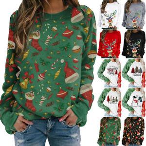 Weihnachts Pullover Damen Sweatshirt Hoodie Weihnachten Pulli Jumper Winter Neu