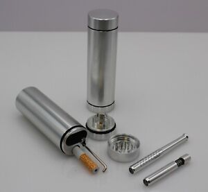 DUGOUT COMBO OUTDOOR KIT -SILVER- w/Grinder & 3 Tobacco One Hitter Pipes