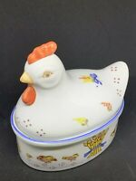 Vintage Ceramic Hen On A Nest Ceramic/Porcelain Covered Nesting Hen