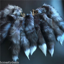 100% Real Silver Fox Tail Key Chain real Fur Tassel Bag Tag Charm Car Key Ring