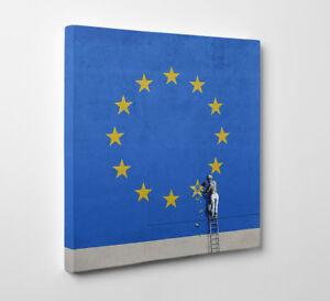 Banksy Brexit EU Flag Dover street Art - Framed Canvas Art Print