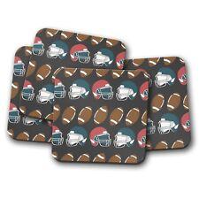4 Set - Cool American Football Drinks Coaster - NFL Style Ball Helmet Gift #8367