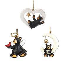 Big Sky Carvers Bearfoots Black Bear Christmas Ornaments Set, Celestial Theme