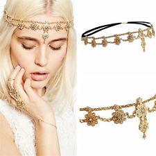 Women Fashion Gold Rhinestone Head Chain Jewelry Headband Head Piece Hair band