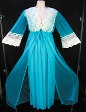 Vintage Turquoise Blue Nightgown & Peignoir Set M/L Nylon SHEER Chiffon Robe