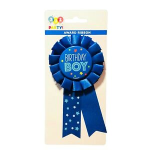 Birthday Boy Pin Back Button Badge Blue with Blue Ribbon and Trim Not A Toy