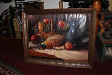 Vintage Oil Painting On Canvas-Dead Turkey-Fruit Basket-Dinner-Signed A Veueziol