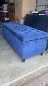 Blue Suede Ottoman Storage Bench