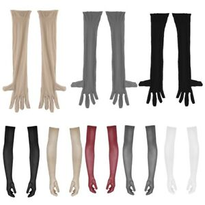 Men's Glossy Long Gloves Opera Length Gloves for Stage Show Halloween Nightclub