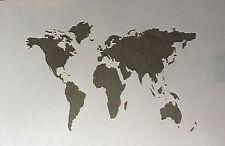 World Map A4 Mylar Reusable Stencil Airbrush Painting Art Craft
