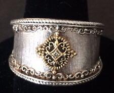 VINTAGE Gabriel & Co Sterling & 18k Gold Diamond Ring