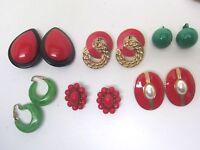 Vintage Earring Lot 6 Pair Christmas Red & Green Clip Plastics Beaded Retro Exc
