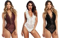 Red White Black Ladies V Neck Hollow-out Lace Bodysuit Lingerie Size 8 10 12 14