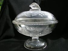 """Barberry Covered Compote 8 1/4"""" diameter EAPG"""
