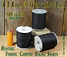 3-Rolls 100 lb Test Seine Twisted Nylon Twine/String Bank Line Over 1200ft total