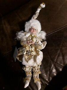 "10"" Mark Roberts Gold  Holly Pearl Snowflake Princess Christmas Fairy Figure"