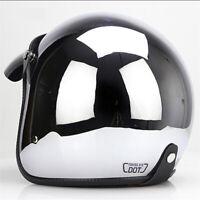 DOT Motorcycle Helmet Open Face Chrome Silver Half 3/4 Helmet Cruiser Scooter XL