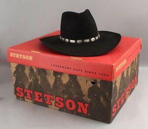 Vintage 4X John B Stetson Beaver Fur Felt Black Cowboy Hat & Band + Original Box