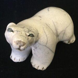 Rare Vintage Barb Sachs Raku Studio Pottery Polar Bear Figurine Signed Canada