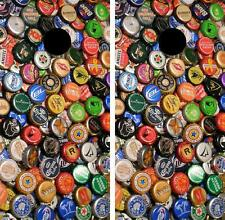 Lotsa Beer Bottle Caps Cornhole Board Skin Wrap Decal Set FREE SQUEEGEE