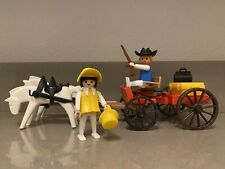 Playmobil Vintage Western Wagon 3587 with horses- EUC - 99% Complete