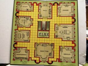 "1949 ""CLUE"" GAME BOARD ONLYBY PARKER BROTHERS, SALEM, MASSACHUSETTES"