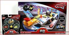 LOT 2- Disney Cars Mini Racers ROLLIN RACEWAY Track Set + 3 GLOW-in-DARK Racers