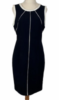 Portmans Womens Black/White Sleeveless Corporate Lined Dress Size 10