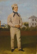 Fine 19th Century English Portrait Of A Cricketer Cricket Antique Oil Painting