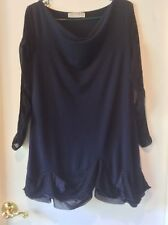 Deca French Lagenlook Quirky Ruffle Hem Boho Dress Pinched Sleeves Navy Euro t3