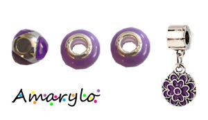 Lot 4 perles charms pendant pour bracelet serpent européen Type Pandora - Violet