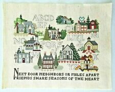 Finished Completed Cross Stitch Alphabet Houses Next Door Neighbors Miles Apart