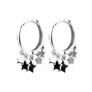 Sterling Silver Multi Stars Sleeper Hinged Hoop Charm Drop Earrings Boxed