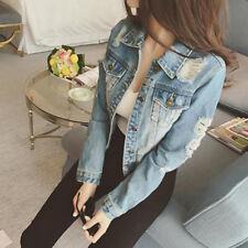 Women's  Fashion Long Sleeve Ripped Hole Denim Jacket Coat Short Jacket Outwear