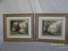 Pair -*Albert Fleury* Listed Artist Antique Original Oil On Canvas Landscapes