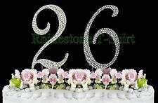 Large Rhinestone NUMBER (26) Cake Topper 26th Birthday Wedding Party Anniversary