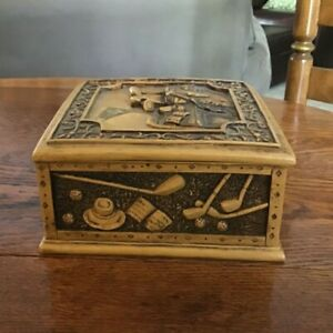 VTG Intricately Carved Hand-Cast Resin Lidded Keepsake Box Golf Theme