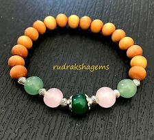 Heart Chakra Bracelet Sandalwood Aventurine RoseQuartz Green Jade Love Happiness