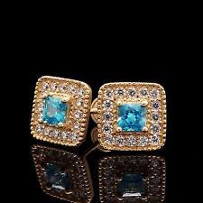 0.5CT Topaz Blue Princess Diamond Halo Earrings 14k Yellow Gold Screwback Studs