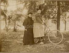 ID'd Marguerite Nichols Victorian/Edwardian Dress Women Girl On Bicycle Photo