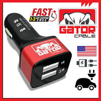 Dual 2 Port USB Car Fast Quick Phone Charger Cigarette Power Adapter 2.1A 10W