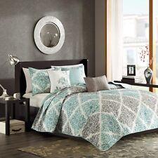 Madison Park Claire King/Cal King Size Quilt Bedding Set - Aqua, Grey, Leaf G.