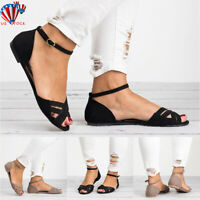 US WOMENS LADIES ANKLE STRAP PEEP TOE FLAT SANDALS COMFY SUMMER SHOES SIZE 5-9